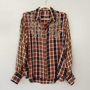 New Free People Snow Mountain Plaid Button Down S